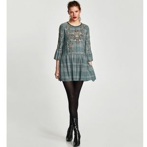 ZARA Ruffle Floral Embroidered Check Smocked Dress